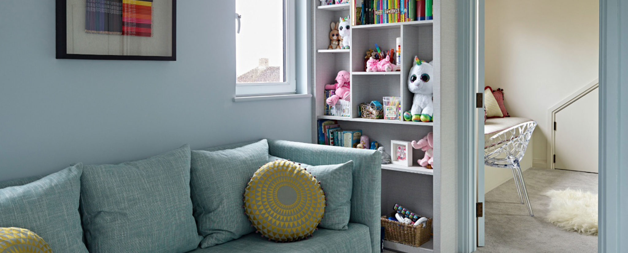 Bedroom display cabinet and reading nook/study area for Wimbledon family home