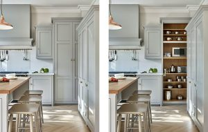Grey tall kitchen cabinet for breakfast appliances and storage with oak interior.