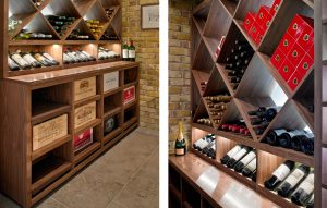 Bespoke wooden display cabinets, wine rack and display shelves for wine room - diamond wine racks